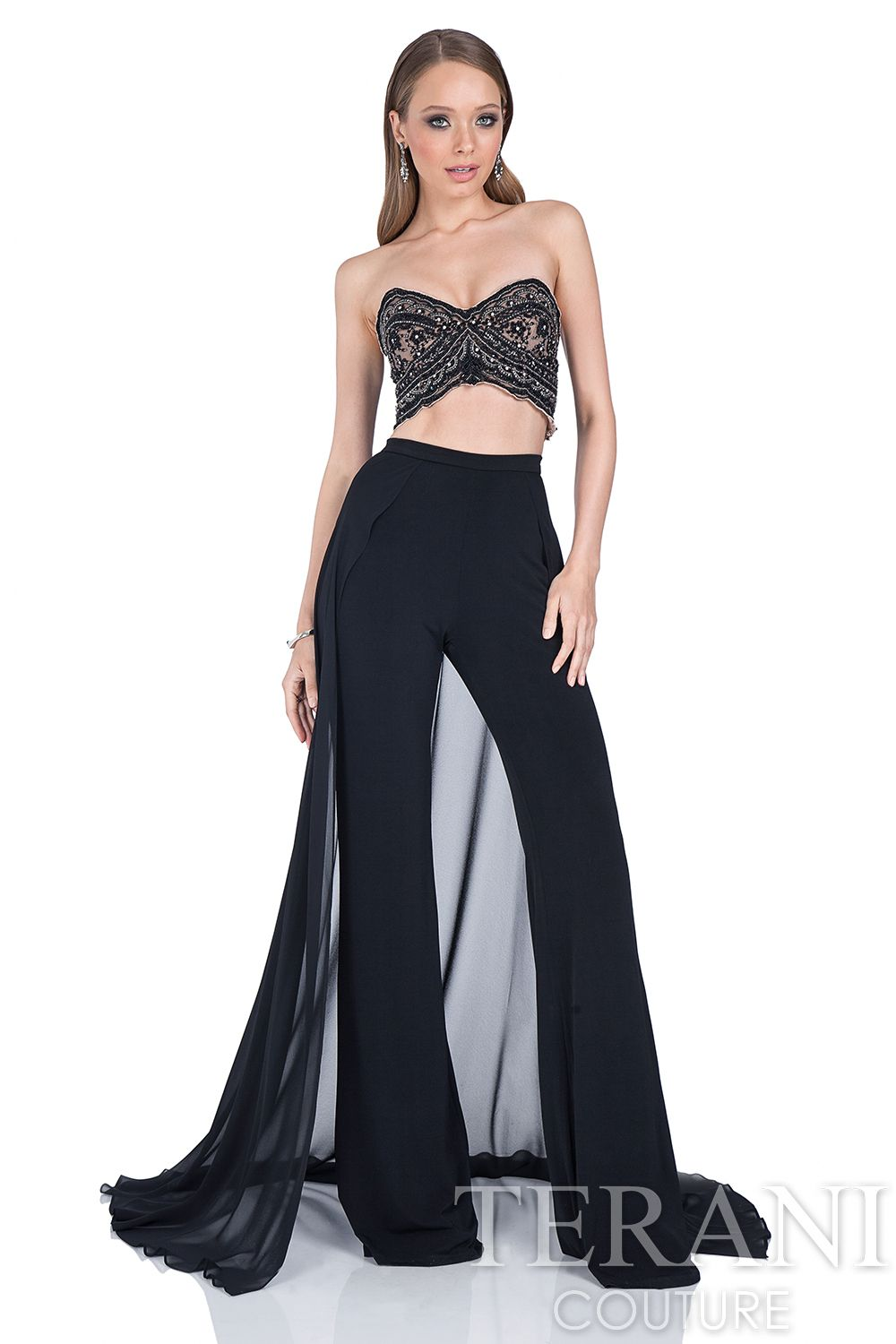 81b73ebb3d1 Two piece prom dress ensemble featuring a strapless beaded bustier. Visit  www.meranski.com for more!