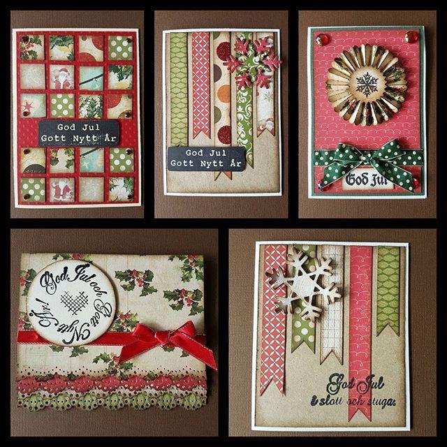 Julen är snart här...pyssla, pyssla, pyssla!  #julkort #cardmaking #cardmaker #christmascards #pysselgalen #crazyaboutcrafting #pysseltajm #scraping