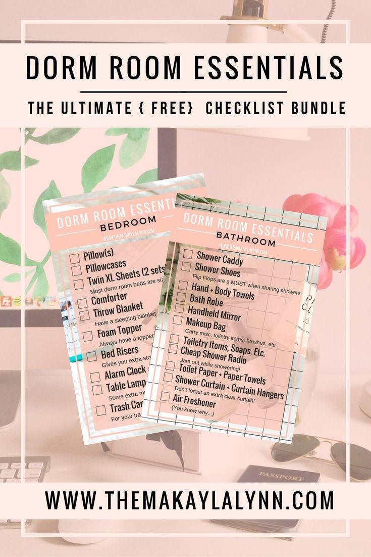 NEW Dorm Room Essentials Checklist Bundle | Dorm room ...