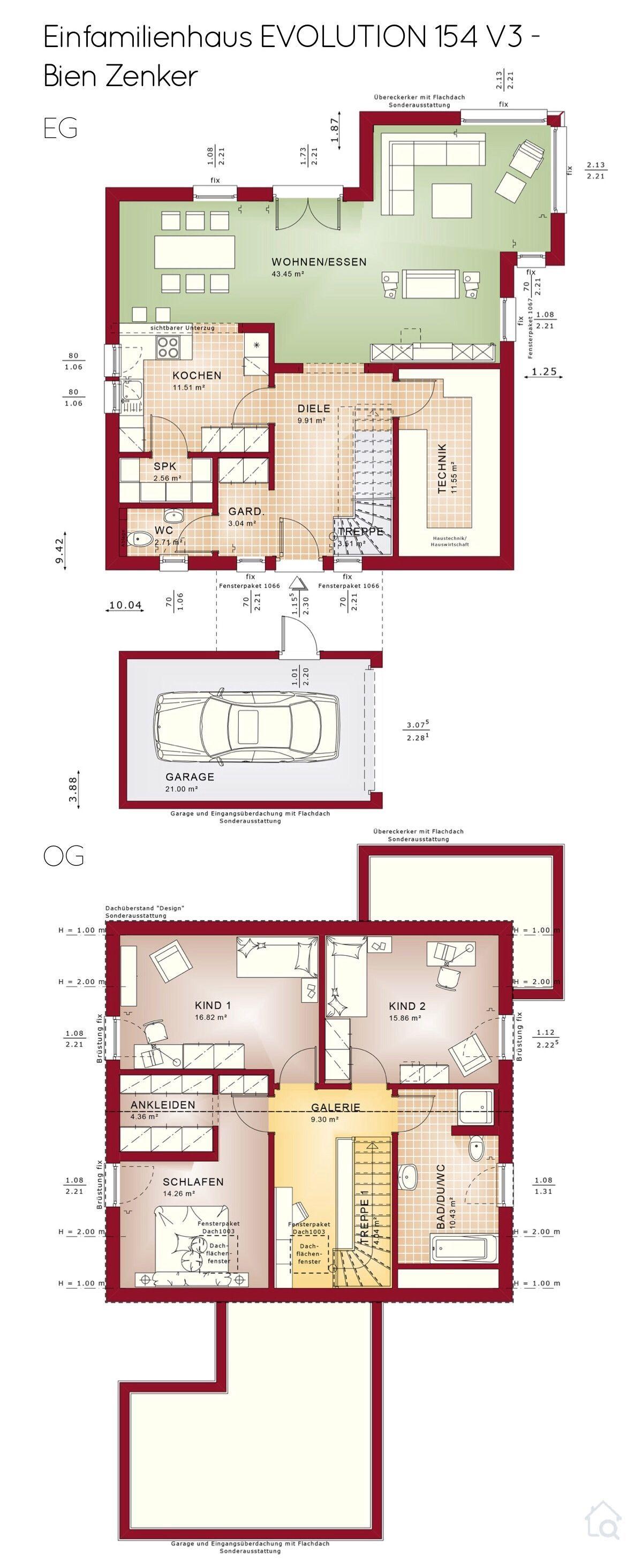 Grundriss Einfamilienhaus mit Garage, Satteldach