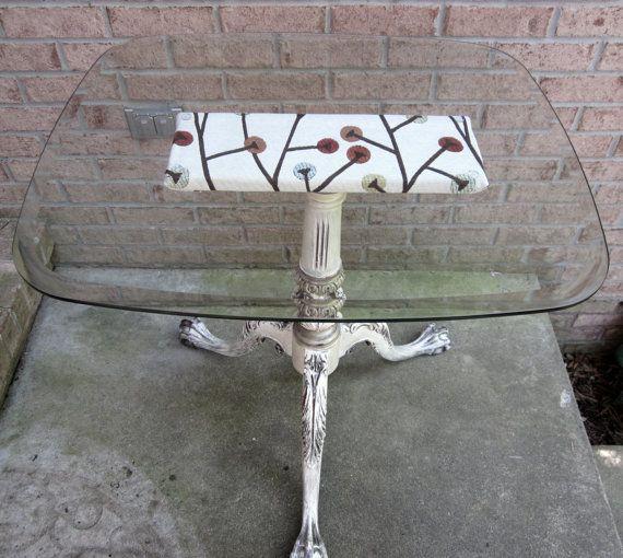 Vintage+carved+pedestal+table++glass+top+by+OverboardStudio,+$399.00