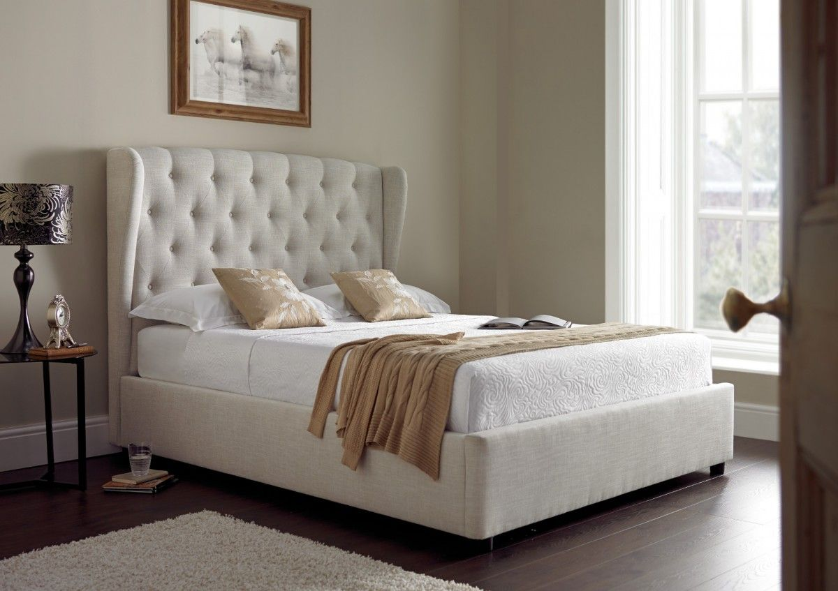 Great Symphony Upholstered Winged Ottoman Storage Bed   Natural