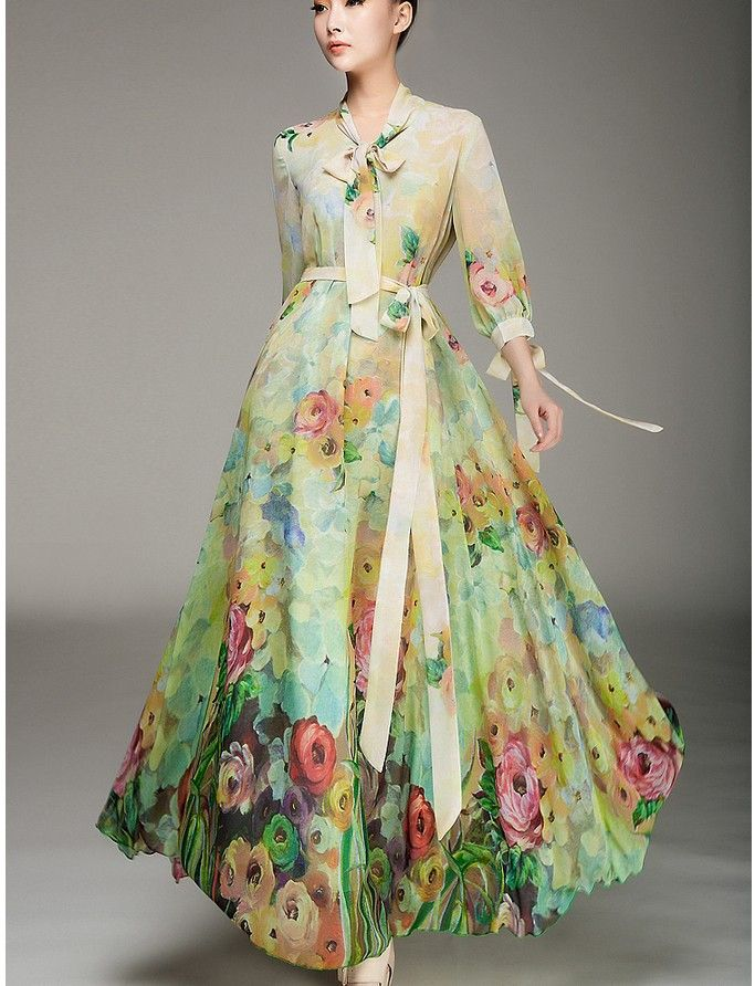 2014 High Fashion Bohemia Printed loose V neck Maxi Dress chiffon ...