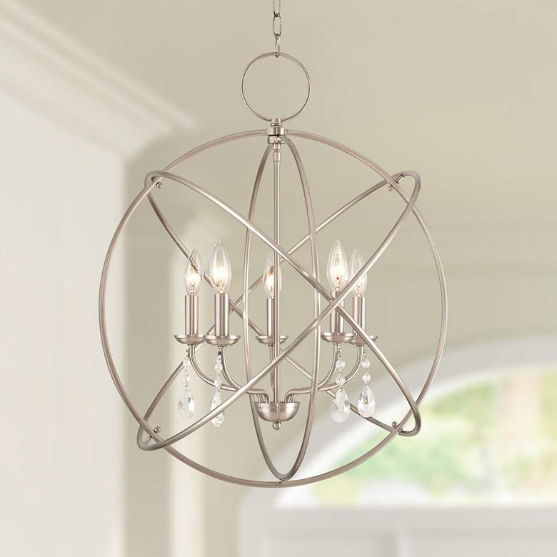 """Photo of Aria 22 """"wide brushed 5-light chandelier made of nickel – # 55J23   Lamps Plus"""