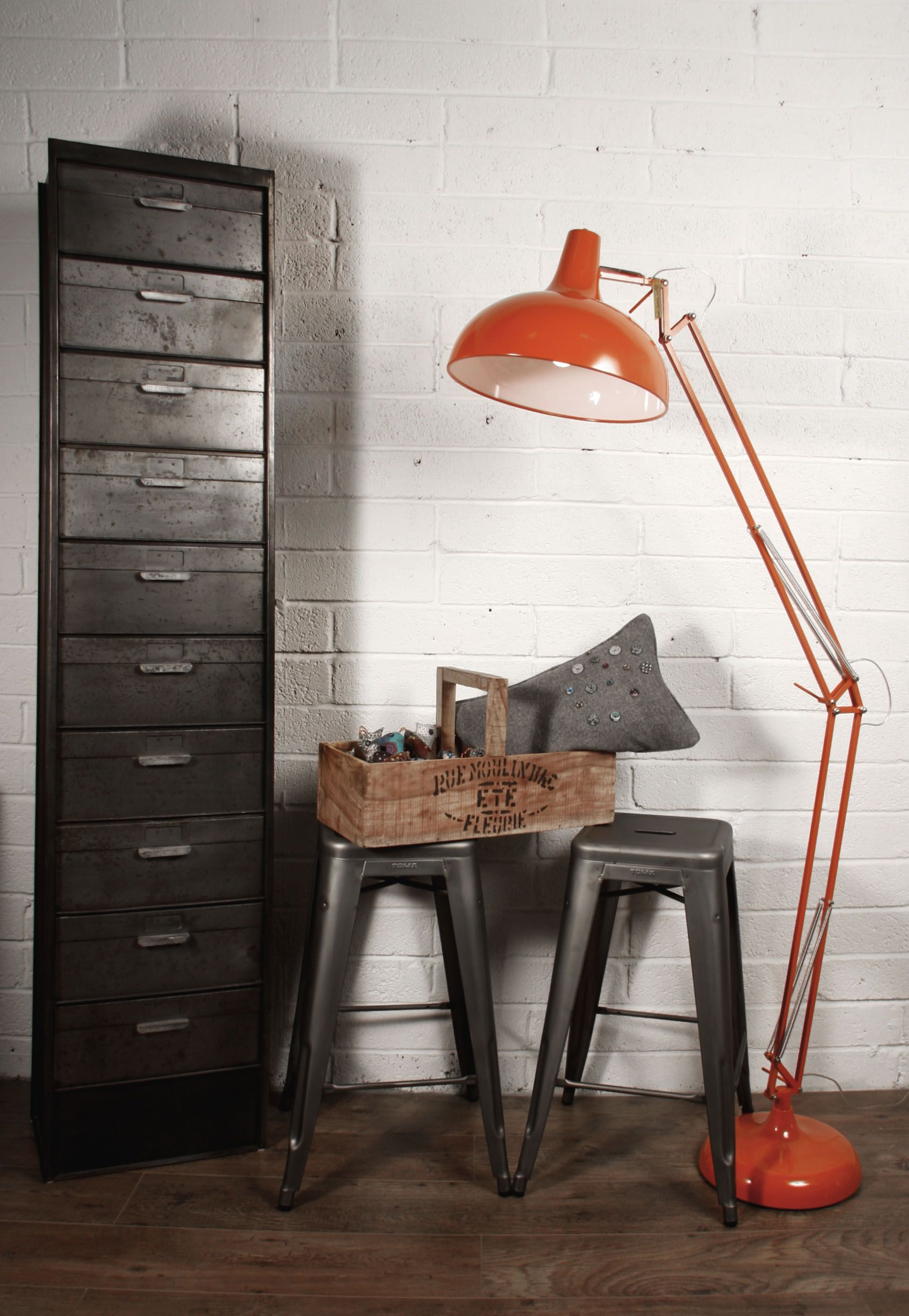 Industrial Style   Giant Angled Orange Floor Lamp And Tall Set Of Drawers.