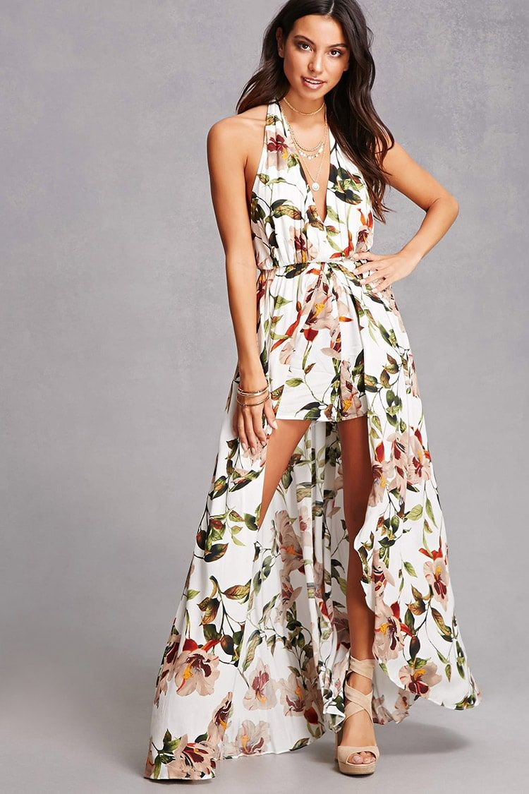 f2dab3554 Floral Halter Maxi Romper | Forever 21 - 2000144536 | clothes 2 buy ...