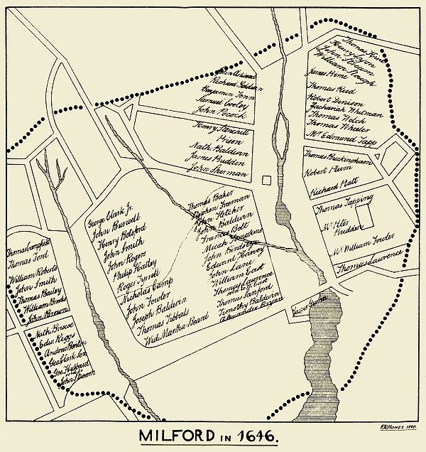 Map of Milford Connecticut as it was in 1646 This is a carefully
