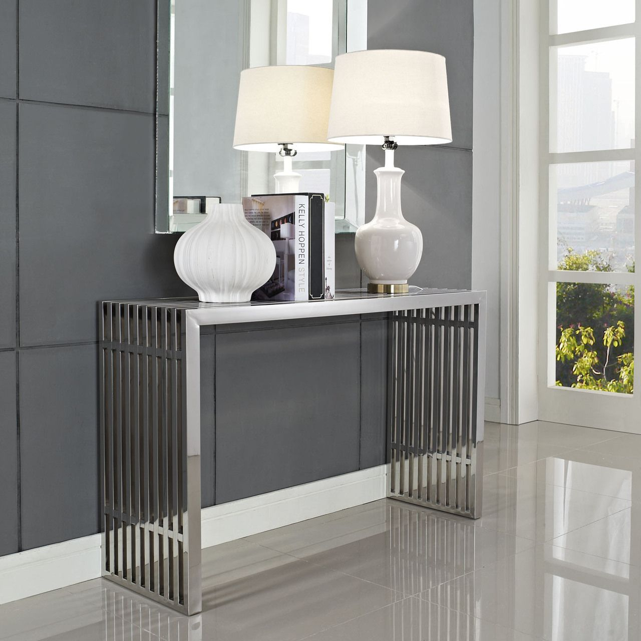 Gridiron console table in silver modway eeislv tables in