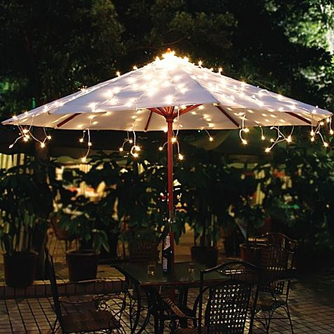 Solar umbrella string lights in white solar powered led lights add brilliant beautiful illumination to your outdoor umbrella with the solar umbrella string lights workwithnaturefo