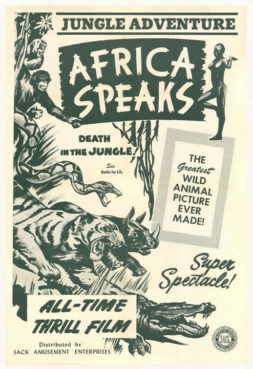 Movie poster from the 1930 film, Africa Speaks