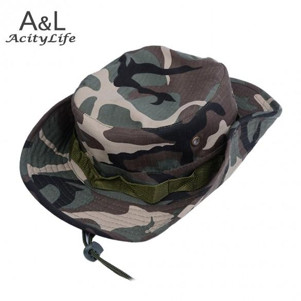 b614f2e0608 Fisherman s hat Hot Sale 2017 New Men Fishing Hiking Boonie Snap Brim  Bucket Hats Cap Camo