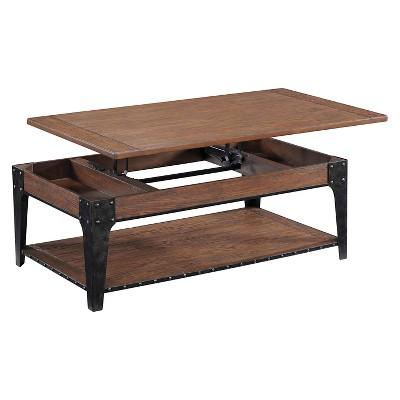 Lakehurst Wood Rectangular Cocktail Table with Lift Top and Casters Natural Oak - Magnussen Home, Brown
