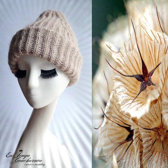 45ec51e4b52 Woman beige hat beanie hipster Mohair winter hat Oversized knit hat Adult  slouch blue beanie Ski sno