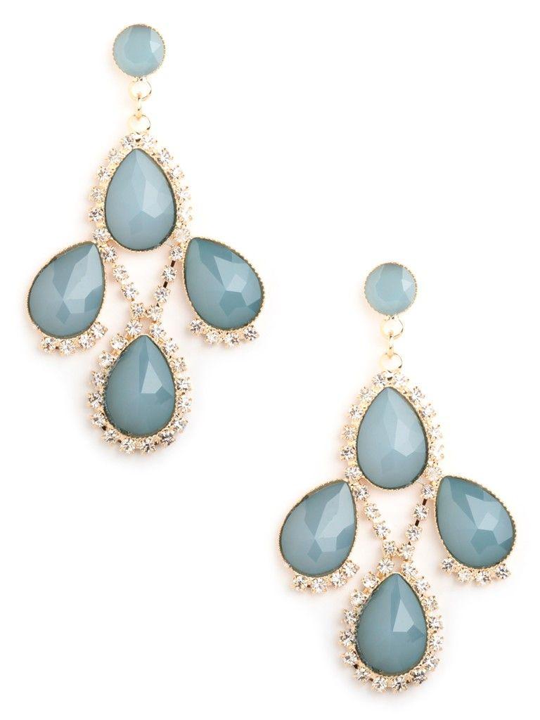 Blue Pave Clover Drops