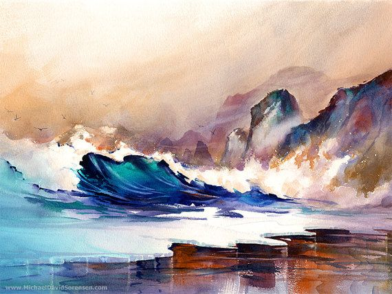 West Coast Color And Motion Watercolor Painting Print By Michael