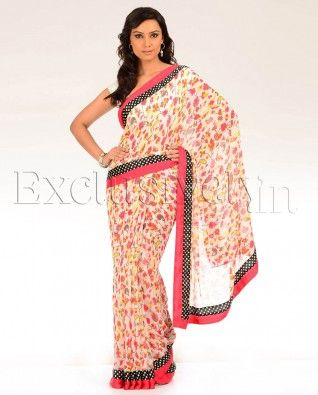 #Exclusivelyin, #IndianEthnicWear, #IndianWear, #Fashion, Printed Maple Sari with Polka Dotted Border
