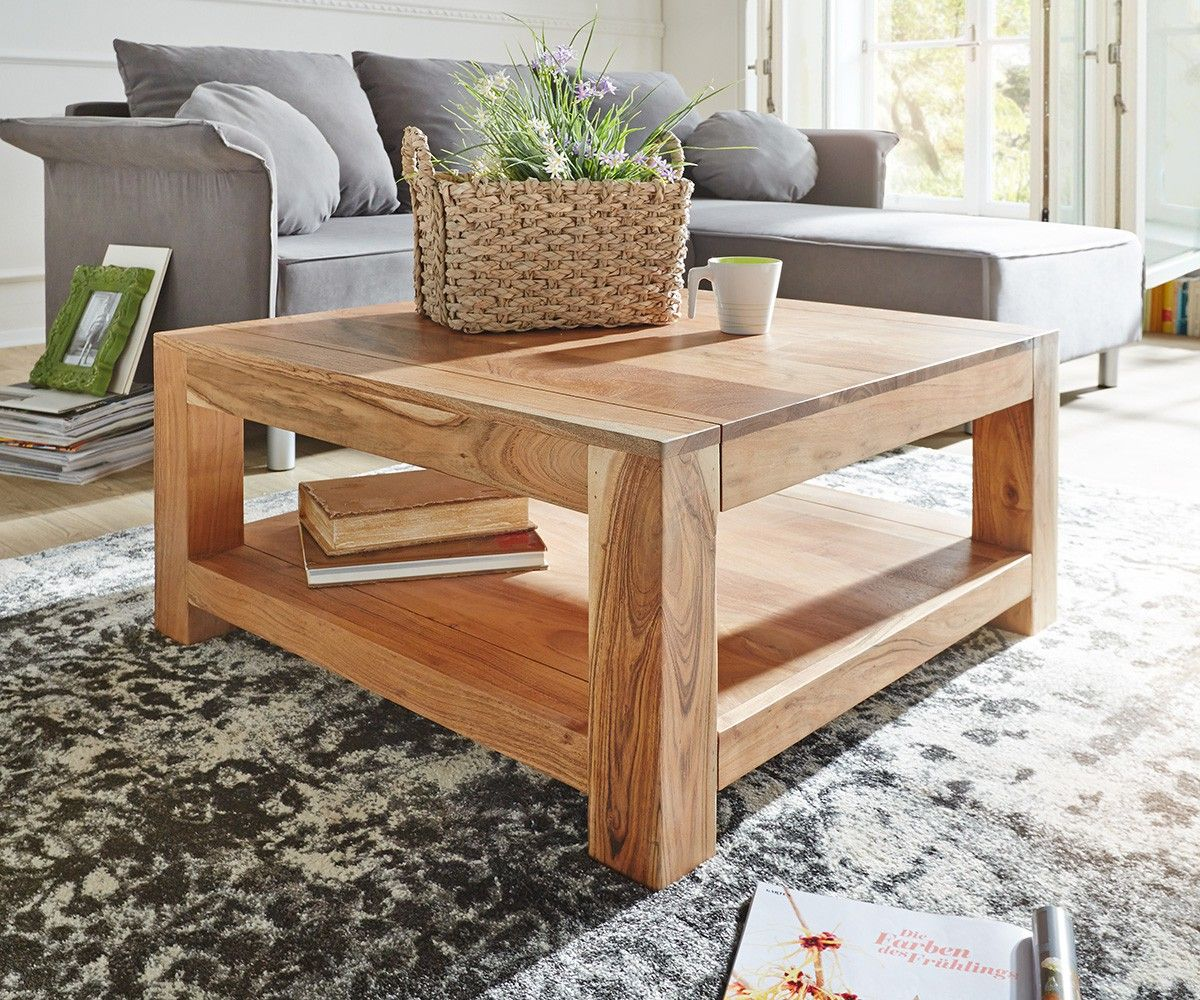 couchtisch indra akazie natur 80x80 massivholz ablage delife deluxe tables. Black Bedroom Furniture Sets. Home Design Ideas