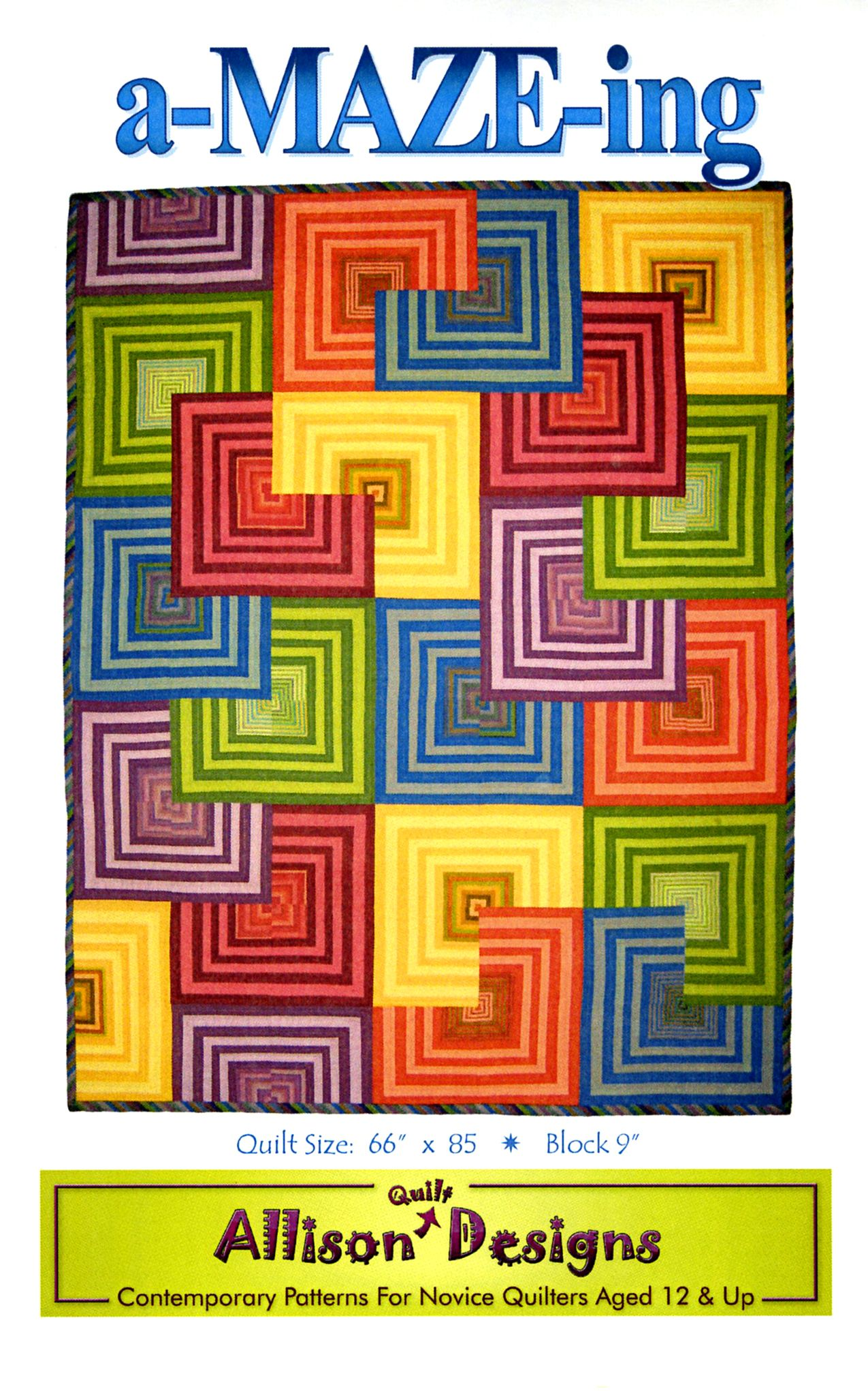 A-Maze-ing By Allison, Lori  - Modern geometric quilt showcasing color saturated shot cottons. Inspired by Tara Faughnan's nationally exhibited art quilt House Top. Full color & fully illustrated instructions. Finished size 66in x 85in.
