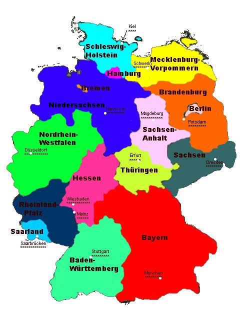 bundesländer auf der karte Deutschland, die 16 bundesländer, Landeshauptstädte, Nordrhein