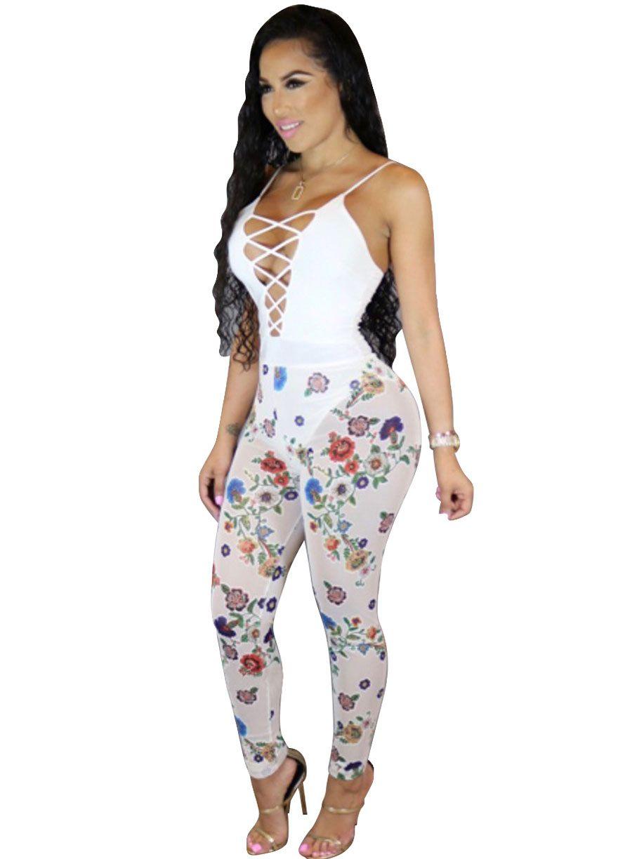 206b1dc8300 Multi-Color Floral Print Sheer Mesh Lace-up Jumpsuit