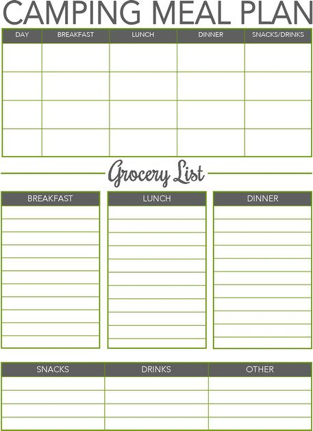 3 Day Camping Menu Planner And Grocery List