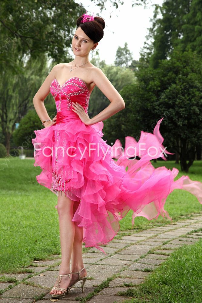 puffy dresses for juniors | ... Neckline Puffy Mini Length Hot Pink ...