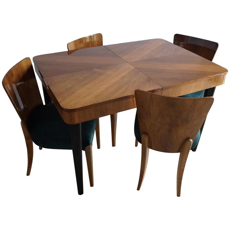 1stdibs Dining Room Set Four Chair J Halabal From 1940 Czech Art Deco Walnut Deco Chairs Art Deco Chair