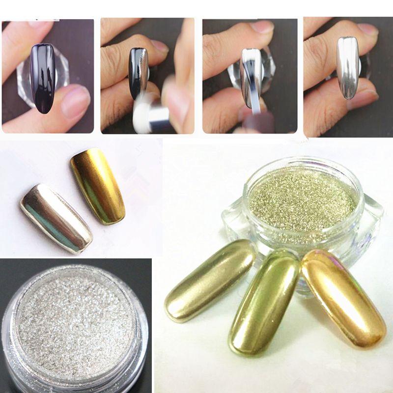 1 g/caja de Oro de la Astilla de Uñas Glitter Shinning Espejo Polvo ...