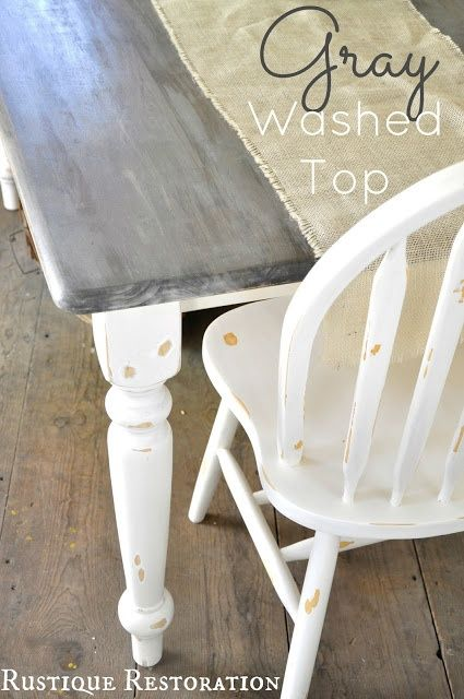 Gray And White Farm Table Kitchen Table Makeover