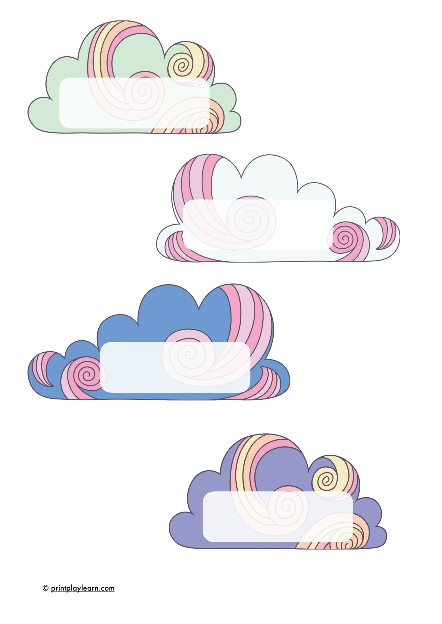 Cloud Name Labels Use As Peg Or Name Labels An Early