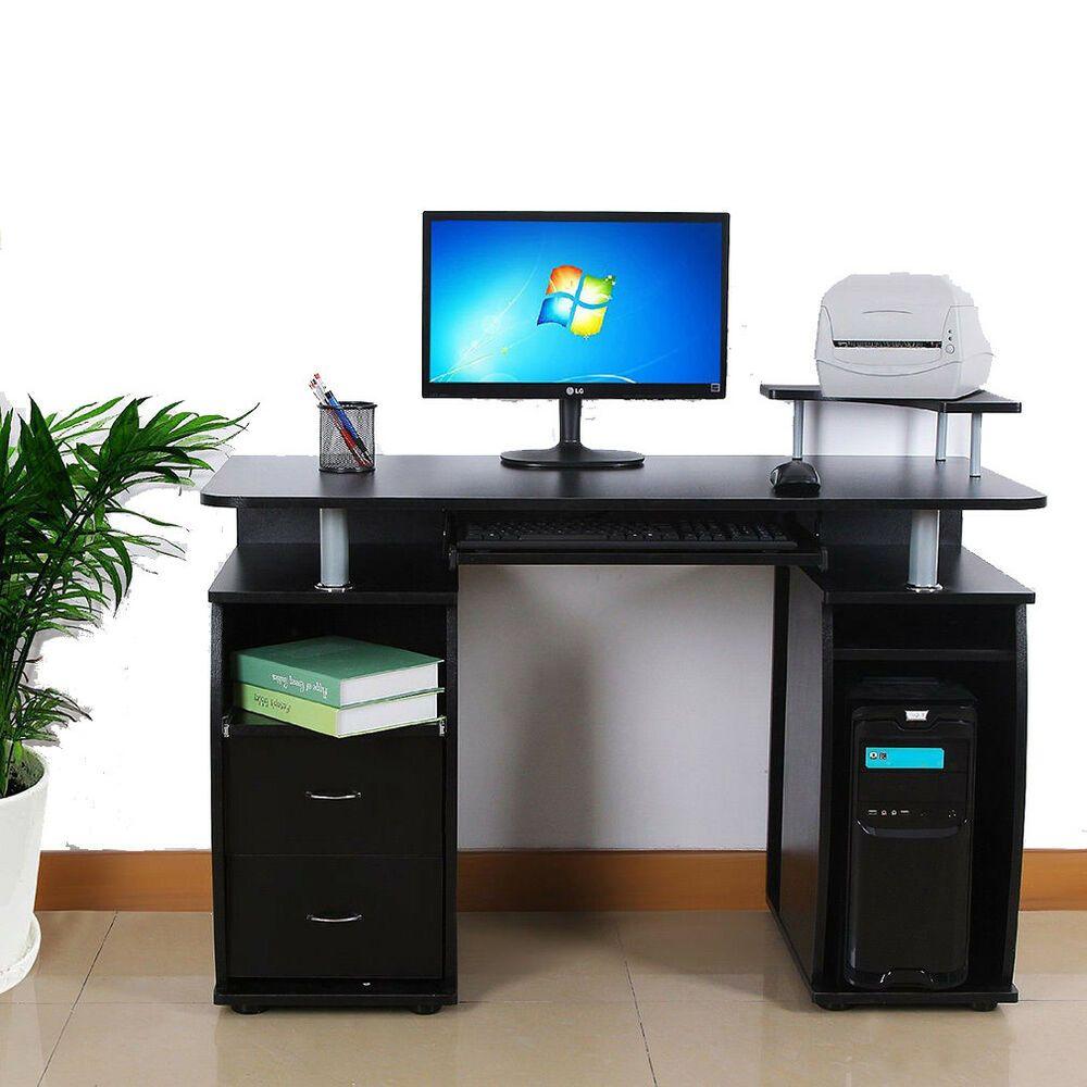 Office Deskorganization: PC Computer Desk Table Workstation Monitor Printer Shelf