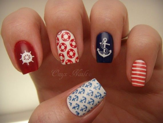 Summer Nail Designs to Have: Nautical Nails - Pretty Designs - Uñas Nauticas, Mas De 40 Ejemplos – Nautical Nails Decoración De