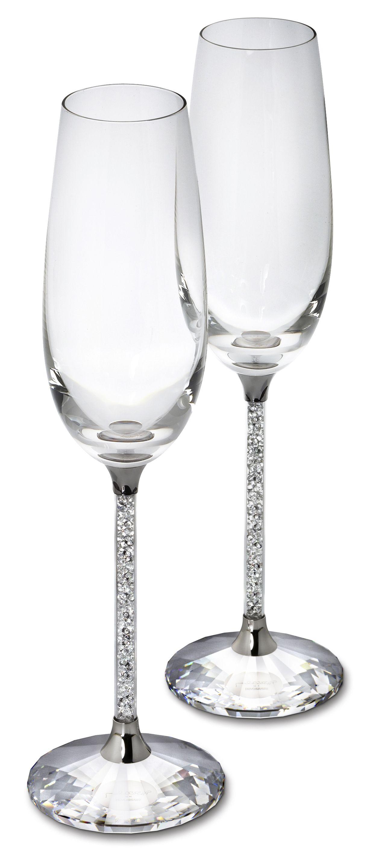 Set of Swarovski Crystal Filled Stem Glasses 2 Champagne Flutes 2 ...