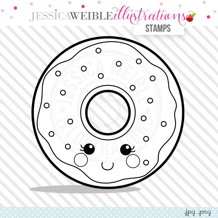 Kawaii Donut Stamp Jw Illustrations Donut Coloring Page Digital Stamps Coloring Pages