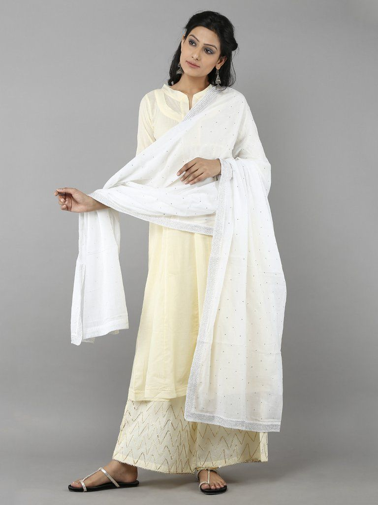 White Cotton Sitara Dupatta