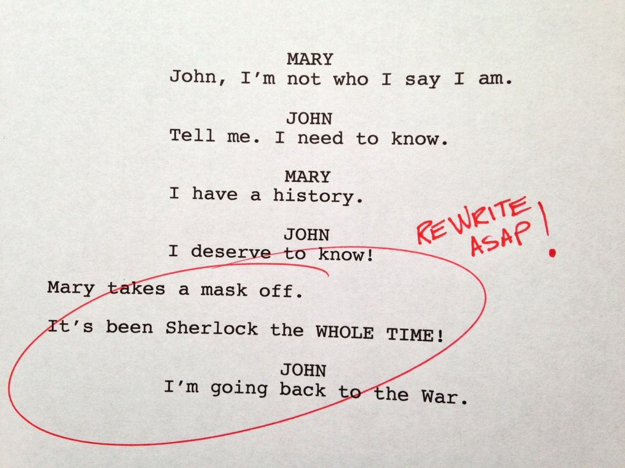 "rageddy: "" moriartyhasthephonebox: "" Rough drafts from BBC Sherlock…. I laughed so"