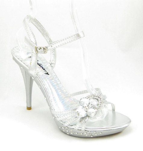 Delicacy Delicious 37 Womens Silver High Heel Rhinestone Platform Sandals  Shoes | eBay
