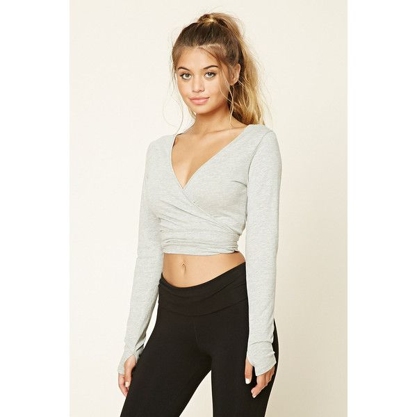 Forever21 Active Ballet Wrap Crop Top ($15) via Polyvore featuring tops,  heather grey
