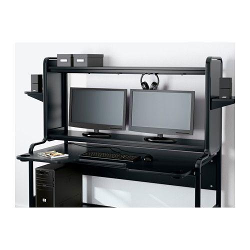 Fredde Black Desk 185x74x146 Cm Ikea Black Desk Workstation Computer Desk Walmart