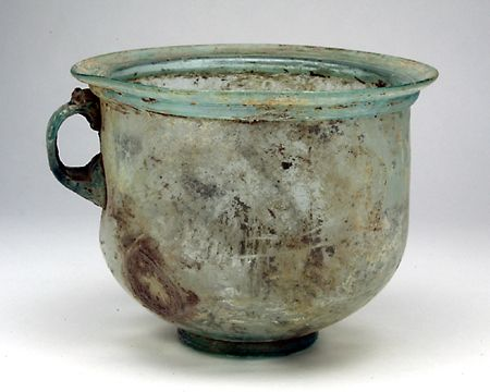 """Large Cup or Stein. Roman Asia Minor, late 1st to 3rd century AD. Height: 4-7/8""""; Width: 6-3/4"""". Nicely crafted in aqua blue glass, $460"""