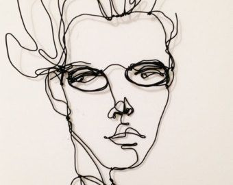Wire wall sculpture Woman with earrings My by morphingpot