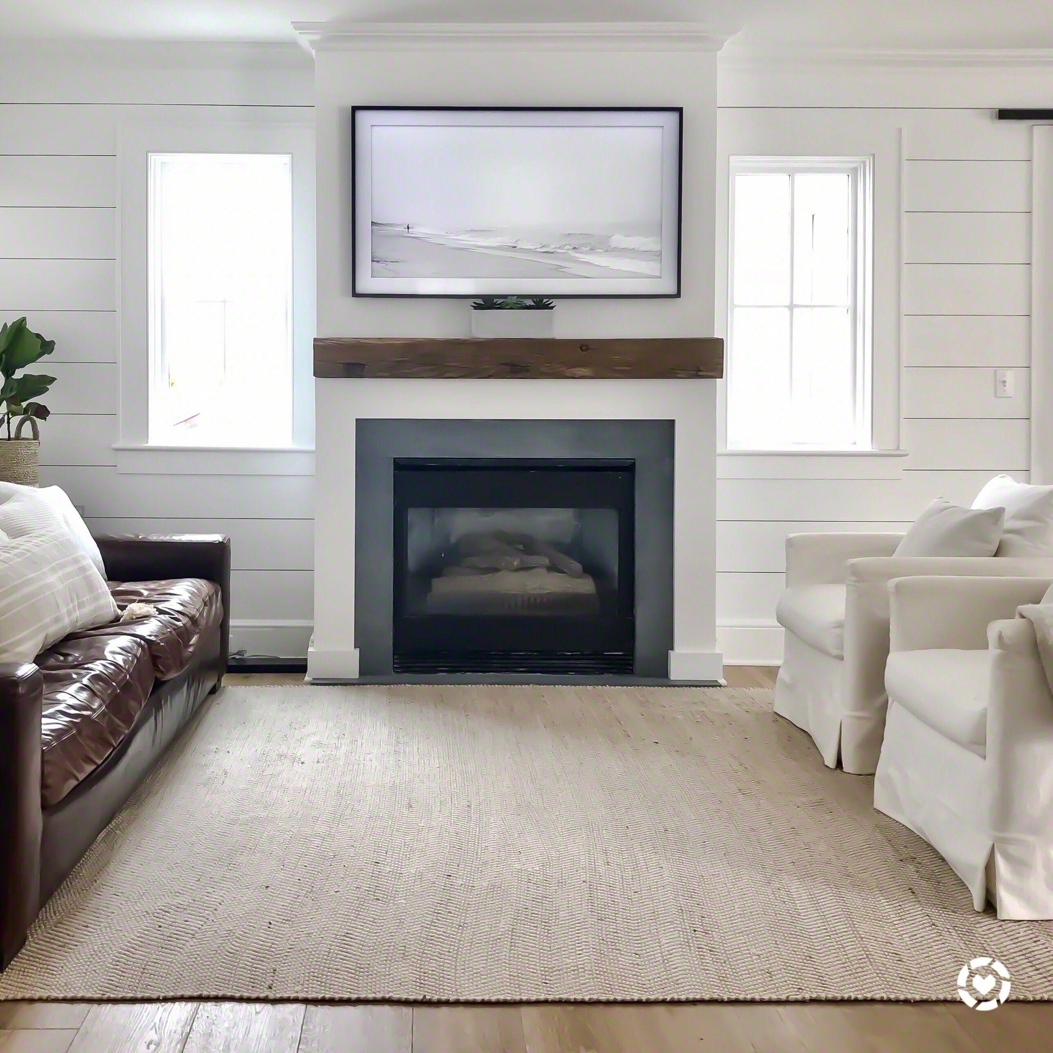 Coastal Living Room Reclaimed Beam Fireplace Surround Shiplap Samsung The Frame Tv Coastal Living Rooms Home Fireplace Fireplace Surrounds