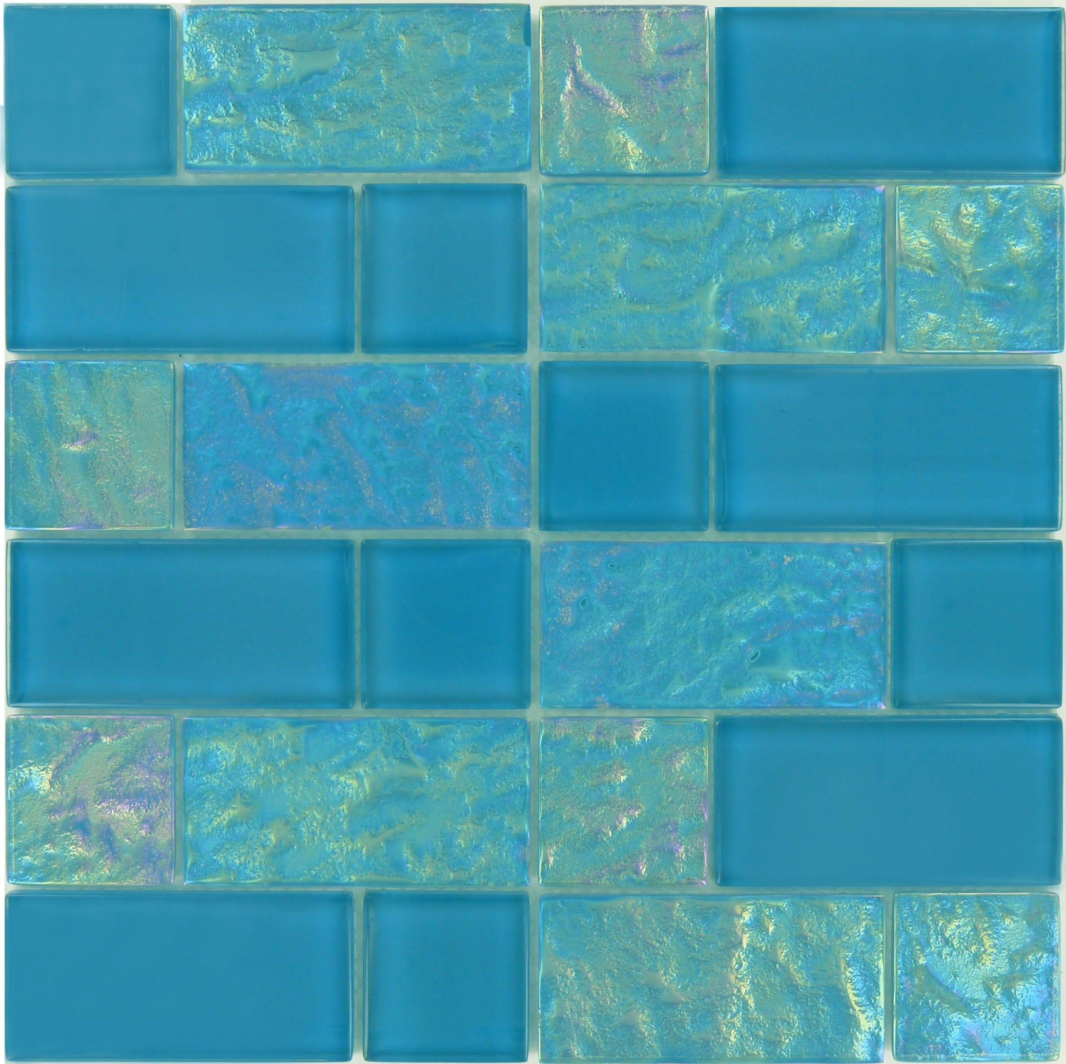 Ocean Pool Mosaic Splash Series Unique Shapes Breeze Unique Shapes Blue Glossy Iridescent Glass Tile Glossy Iridescent Glass Tiles Glass Tile Pool Tile