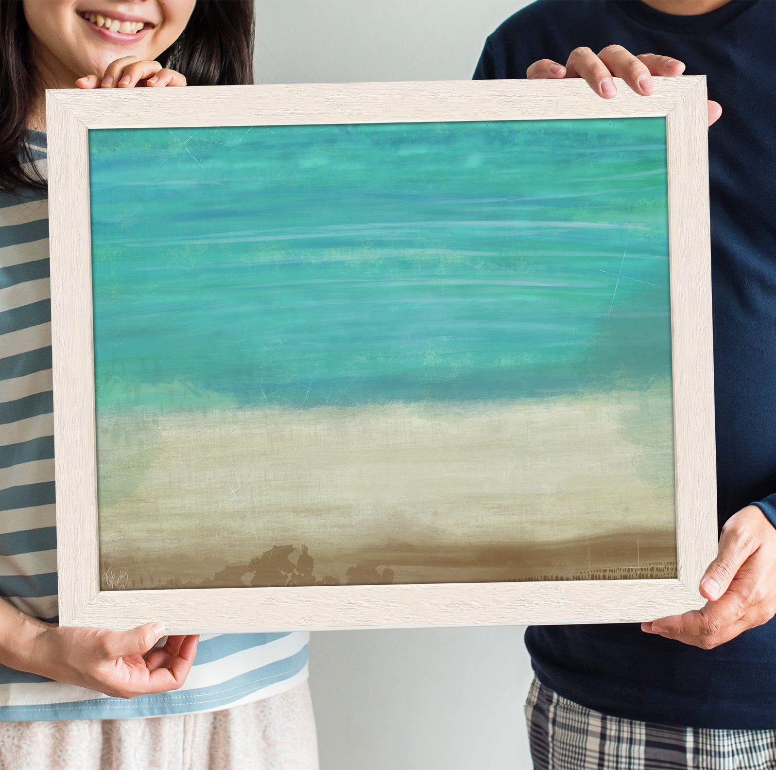 Beach Abstract Watercolor Painting Coastal Art Decor Nautical
