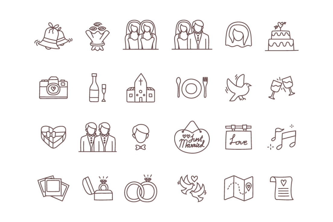 Free Vector Wedding Icons With Images