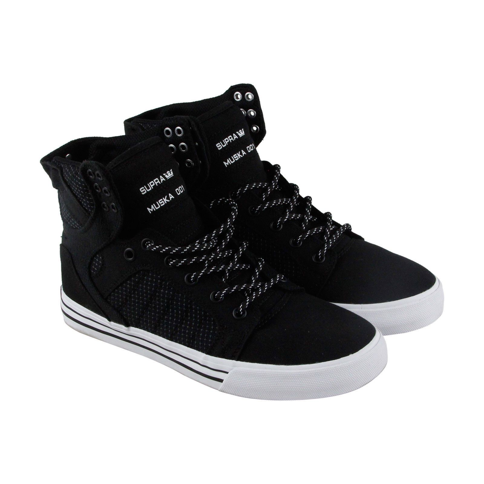 a09702fcd168 Supra Skytop Mens Black Canvas High Top Lace Up Sneakers Shoes  67.99 End  Date  2018