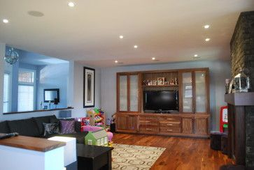 Frosted Glass- natural walnut-wall unit. Custom built by Signature ...