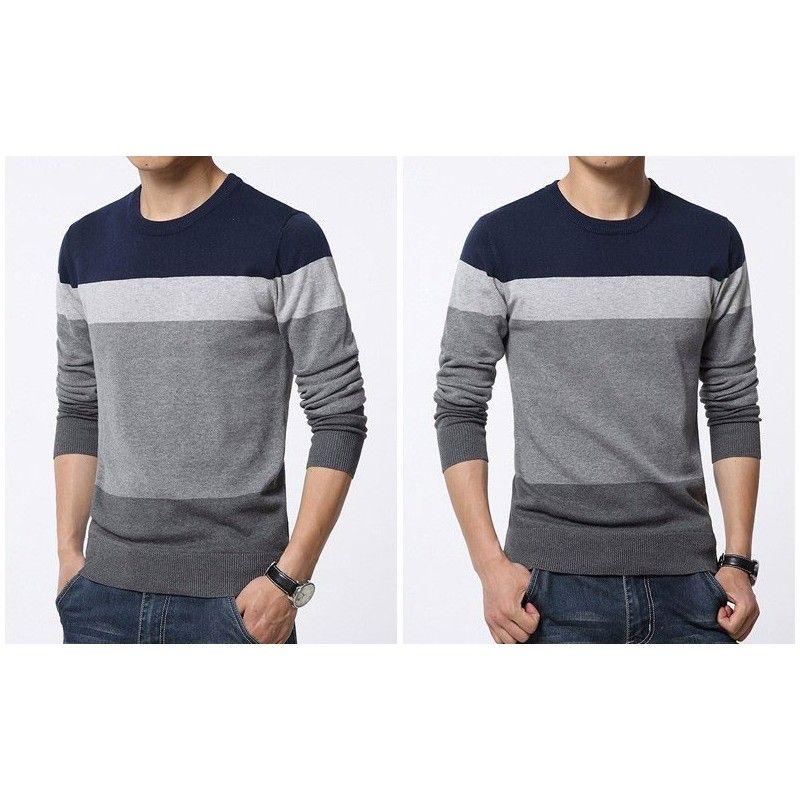 f36c127d91ac Camiseta Blusão Listrada de Inverno Masculina Manga Longa em Lã em ...
