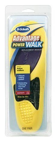 Dr. Scholl's Advantage Powerwalk Insoles, Womens sizes 6-10 - 1 pr by Dr. Scholl's. $14.95. Please read all label information on delivery. Complex blend of polymers conforms to the shape of your foot for greater comfort. Unique woven fiberglass Matrix Arch delivers firm support while allowing full flexibility throughout your stride. Mini Air Cushions absorb shock at the heel to make it feel like you're walking on air. Advanced Gel for extra cushioning comfort in your forefoot...