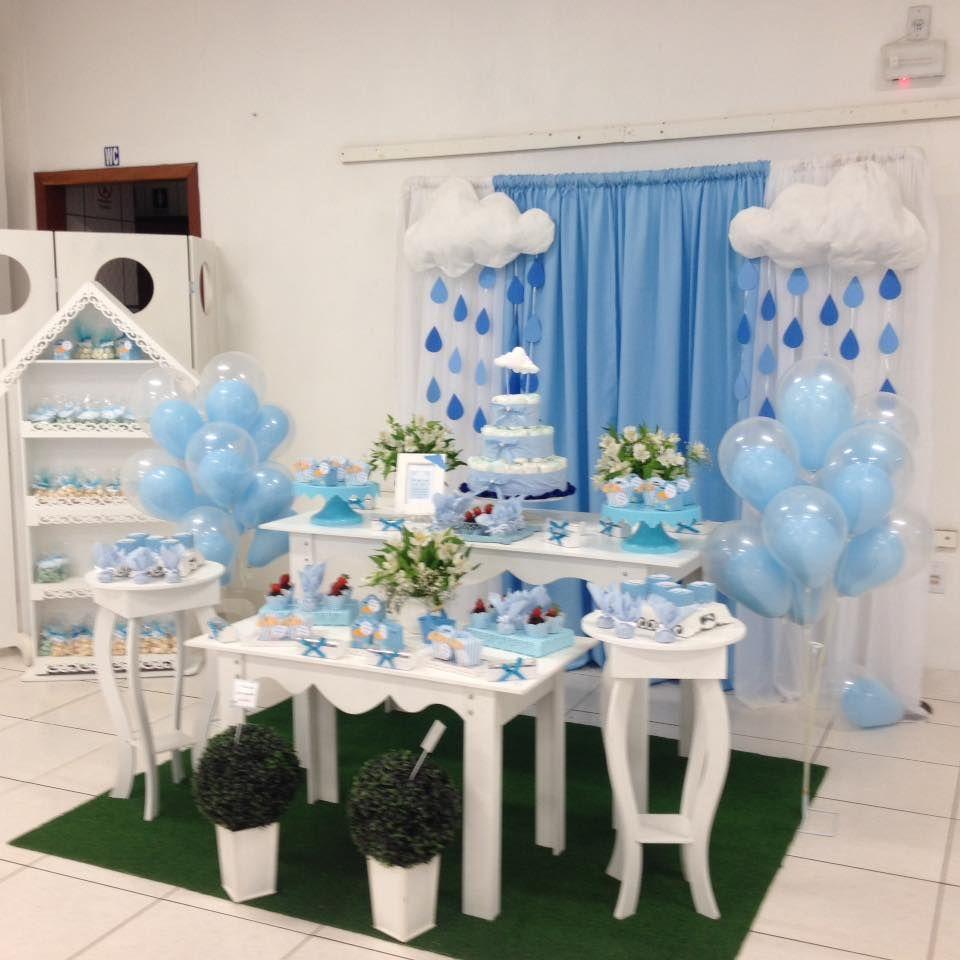 Pin de Alexandra Estrella Jimenez em DECORACIONES P&E Cloud baby shower theme, Baby shower  -> Decoração Chá De Bebê Nuvem